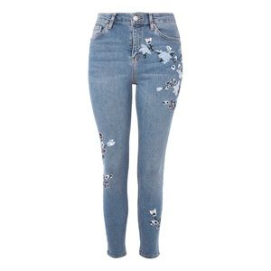 TopShop Moto Tapestry Embroidered Jamie Jeans
